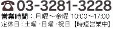 TEL03-3281-3228 営業時間10:00~17:00(定休日:土・日・祝日)